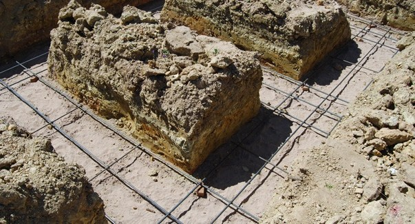 Foundation trenches with re-inforcing