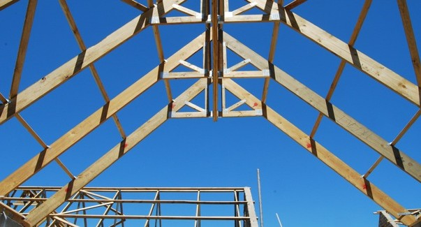 Roof trusses in place