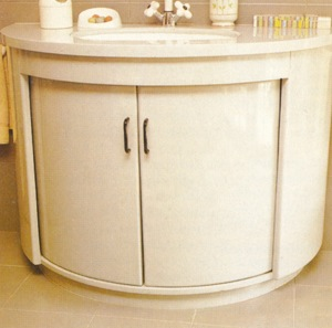 Bathroom storage unit half round
